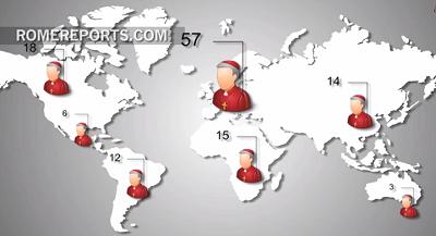 Số các Đức Hồng Y trên mỗi lục địa. Ảnh chụp từ .romereports