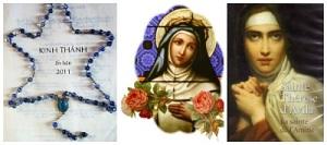 Chuỗi Mân Côi không có cây Thánh Giá cha Đặng Chí San, OP tặng chị Sương Quỳnh. Hai thánh Têrêsa Avila và Rosa Lima, Bổn Mạng của chị Sương Quỳnh và Ánh Hồng