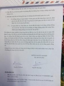 Đơn của gia đình anh Hồ Duy Hải tố cáo ông Chánh án Tòa án nhân dân tối cao Trương Hòa Bình đã trả lời chất vấn sai sự thật đối với vụ án Hồ Duy Hải, tại phiên họp thứ 36 của Ủy Ban Thường Vụ Quốc Hội