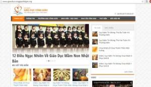 Giao diện website của Ủy Ban Giáo Dục Công Giáo trực thuộc Hội Đồng Giám Mục Việt Nam